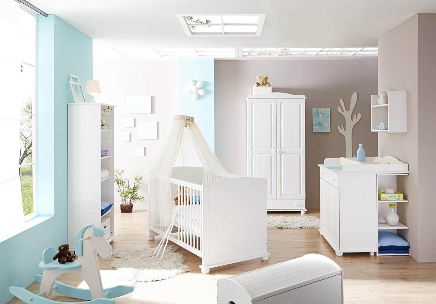 Ticaa 'Adam' 4-tlg. Babyzimmer-Set, Weiß, aus Bett 70x140 cm, Kleiderschrank, Regal und Wickelkommode inkl. Anstellregal Bild 1