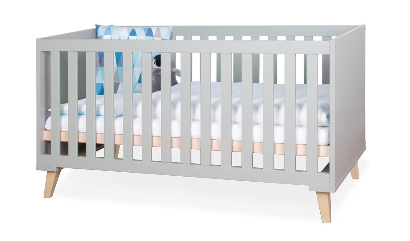 Bellabino 'Gora' Babybett 70x140 cm, grau, 3-fach höhenverstellbar, 3 Schlupfsprossen, umbaubar zum Juniorbett, inkl. Umbauseite Bild 1