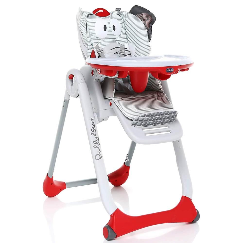 Chicco 'Polly 2 Start' Hochstuhl Baby Elephant weiß/rot Bild 1