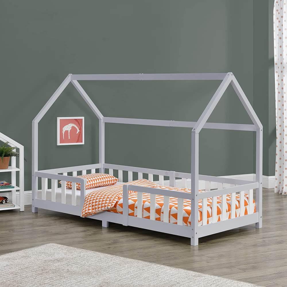 en.casa 'Sisimiut' Hausbett 90x200 cm, grau/weiß, Kieferholz, inkl. Rausfallschutz und Lattenrost Bild 1