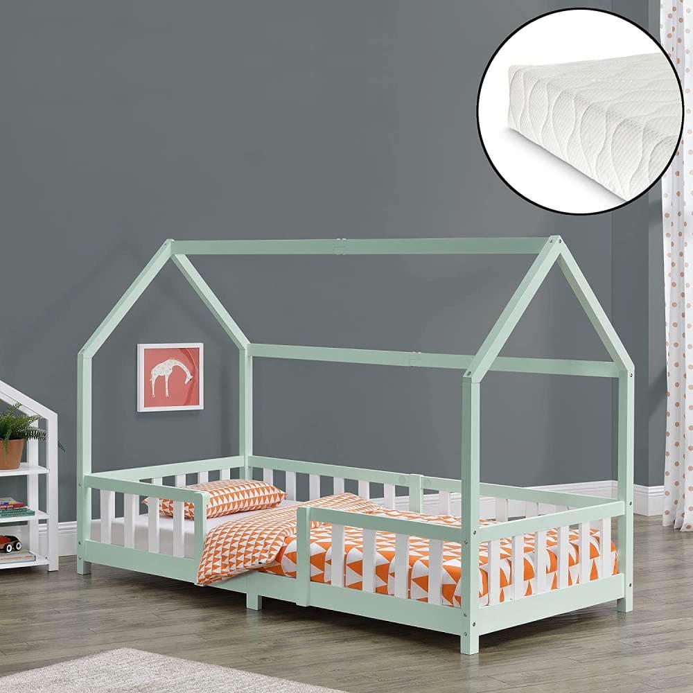 en.casa 'Sisimiut' Hausbett 90x200 cm, mint/weiß, Kieferholz, inkl. Matratze, Rausfallschutz und Lattenrost Bild 1