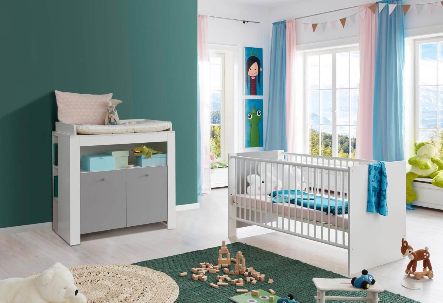 Babyzimmer Pia weiß/grau komplett Set 2-teilig inkl. Wickelkommode und Babybett Bild 1