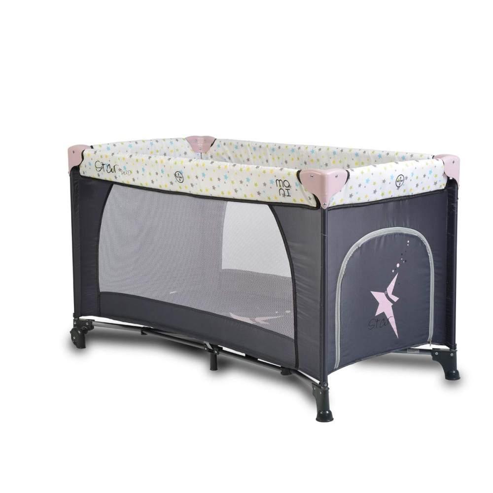Moni Reisebett Star Duo 2 Ebenen Seiteneingang Matratze Tragetasche ab Geburt, Farbe:rosa Bild 1