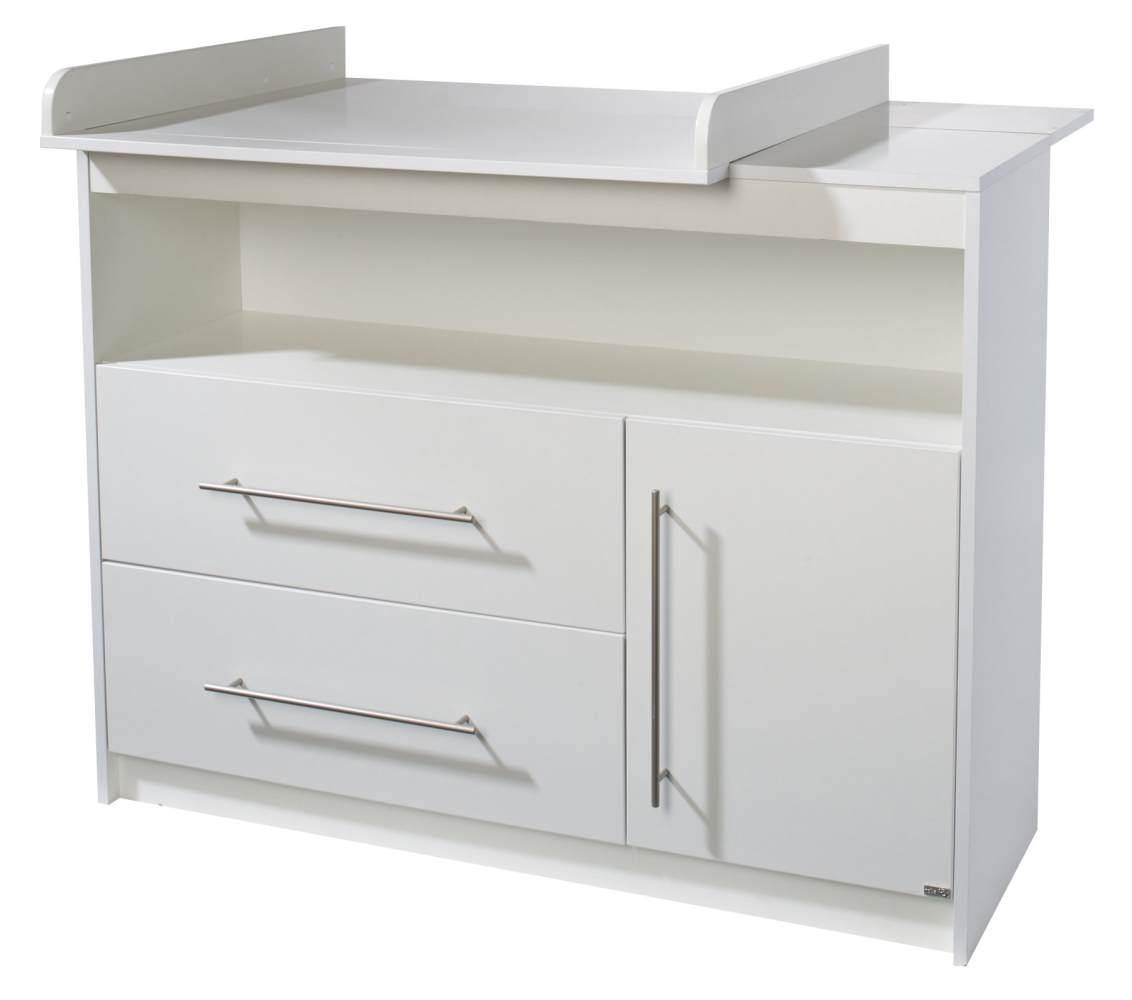 roba breite Wickelkommode 'Maren' inkl. Wickelansatz, weiß, mit einer Tür, einem offenen Fach und zwei Schubladen Bild 1