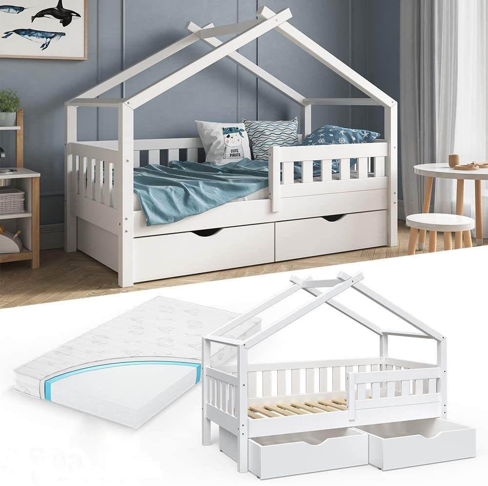 VitaliSpa 'Design' Kinderbett 80 x 160 cm, weiß, Massivholz Kiefer, inkl. 2 Schubladen und Matratze Bild 1