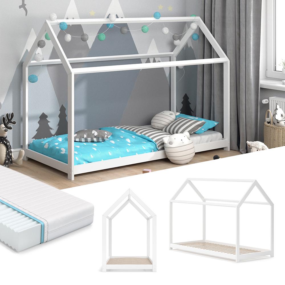 VitaliSpa 'Wiki' Hausbett 90 x 200 cm weiß, inkl. Matratze und Lattenrost Bild 1