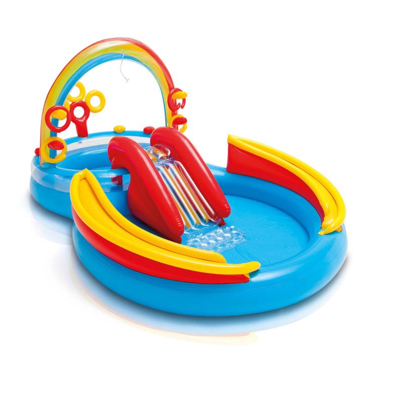 Intex 'Rainbow Ring Playcenter' 2-in-1-Planschbecken, 297 x 193 x 135 cm, ab 2 Jahren, inkl. großem und kleinem Pool, Rutsche, Regenbogendusche und verschiedenen Ball- und Ringspielen Bild 1