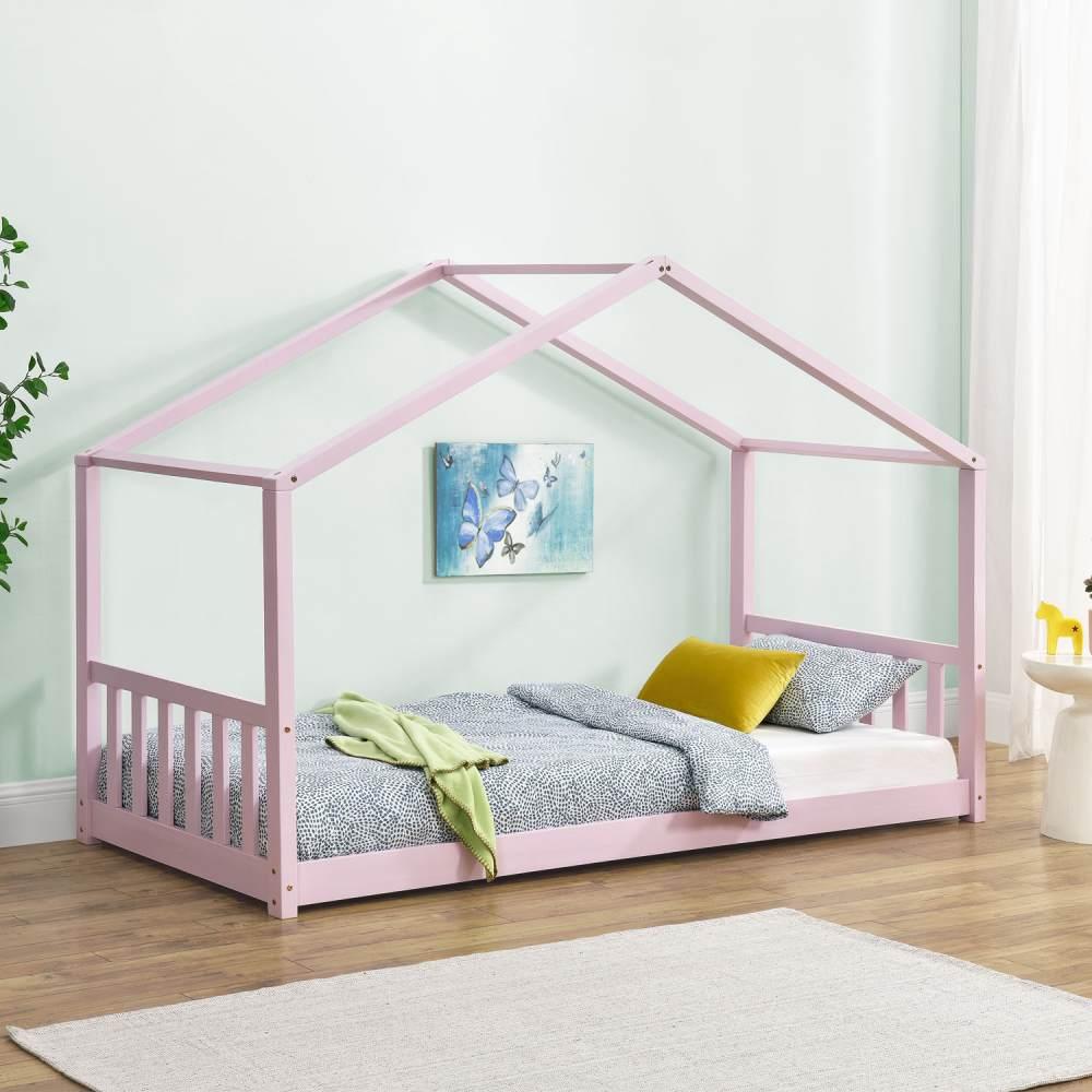 Juskys 'Paulina' Hausbett 90 x 200 cm, rosa, mit Lattenrost, Kiefer massiv Bild 1