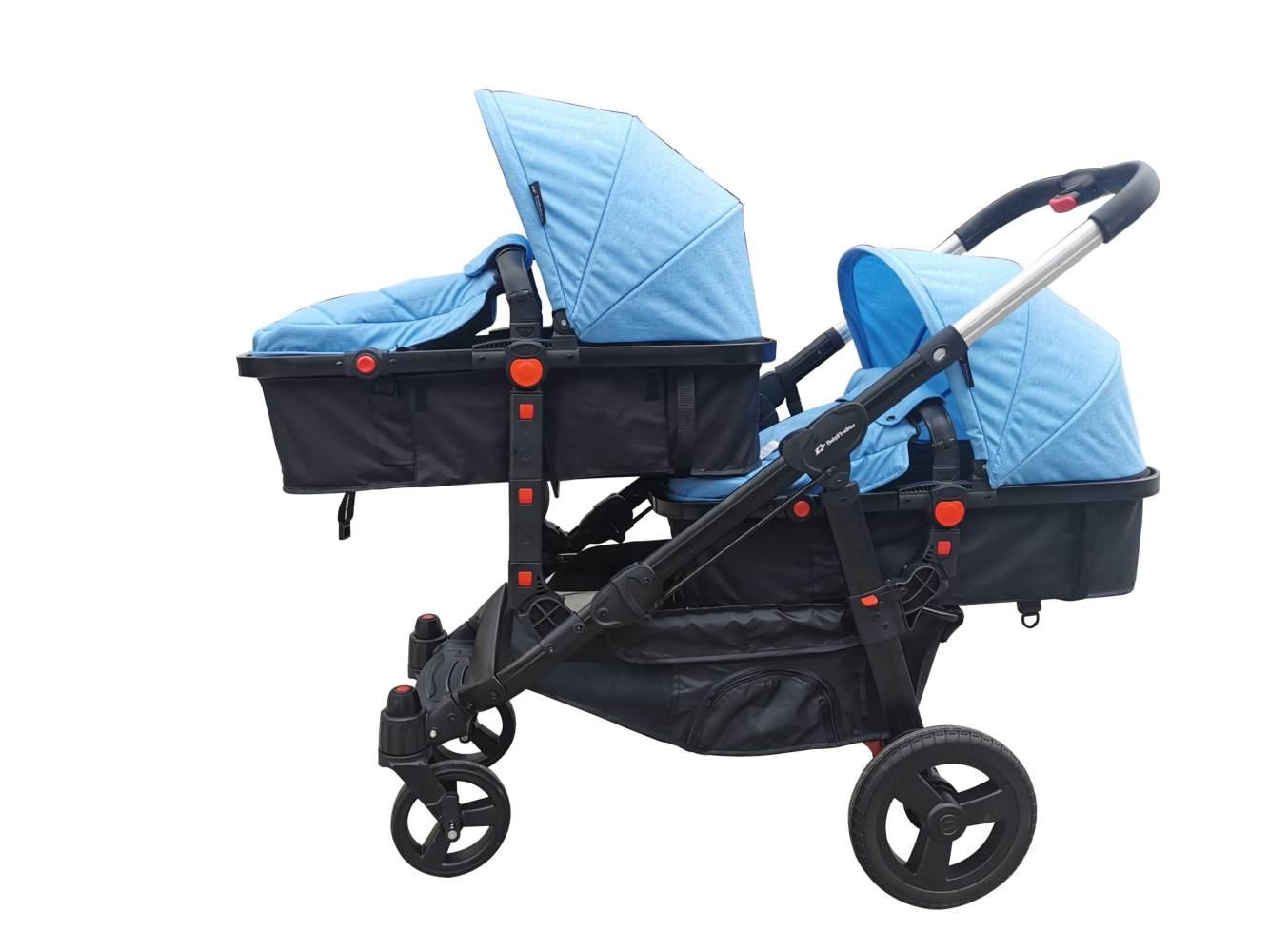 Babyfivestar Geschwisterwagen / Zwillingswagen Blue Schwarzes Gestell Bild 1