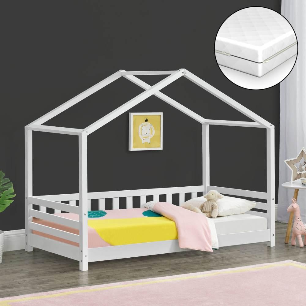 [en. casa] 'Geiranger' Hausbett 80x160cm, weiß, mit Matratze und Lattenrost Bild 1