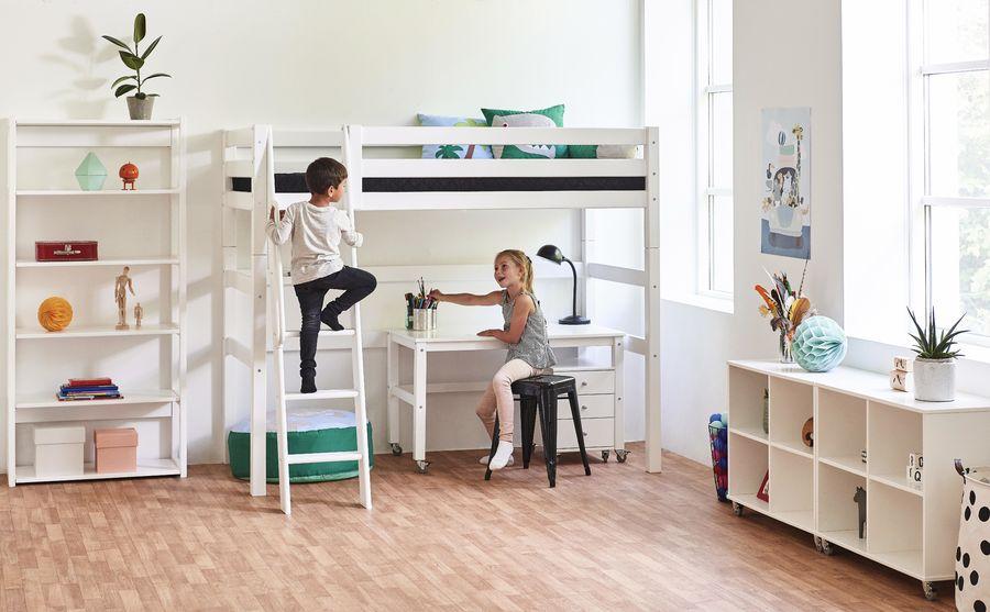 Hoppekids 'Premium' Hochbett weiß, inkl.Schreibtisch und Rollrost Bild 1