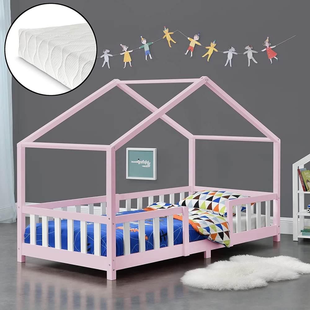 en.casa 'Treviolo' Hausbett 90x200 cm, rosa/weiß, Kiefernholz, mit Matratze, Lattenrost und Rausfallschutz Bild 1