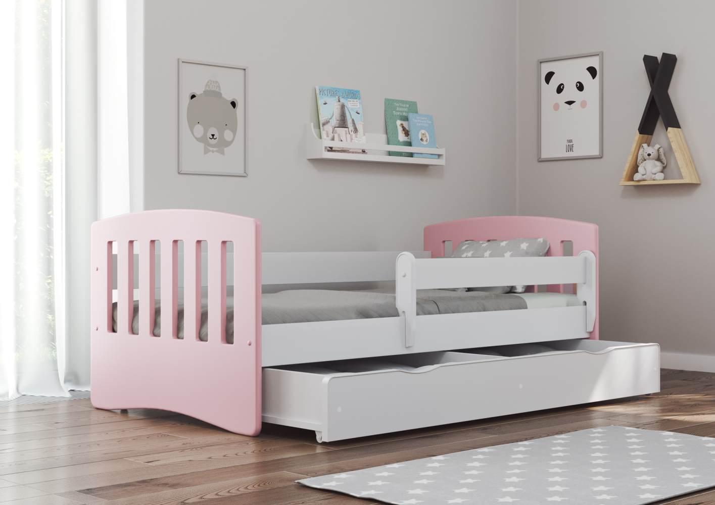 Bjird 'Classic' Kinderbett 80 x 140 cm, Puderrosa, inkl. Rausfallschutz, Lattenrost und Bettschublade Bild 1