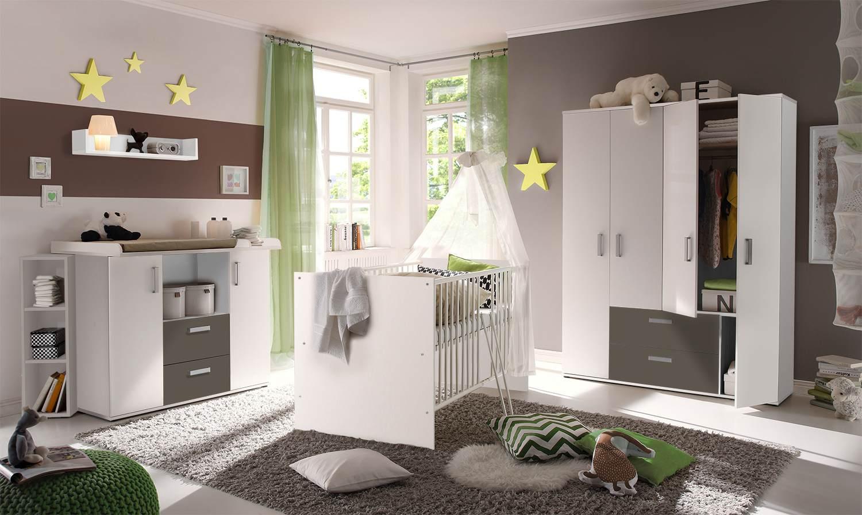 Storado 'Sydney' 5-tlg. Babyzimmer-Set weiß/lava Bild 1