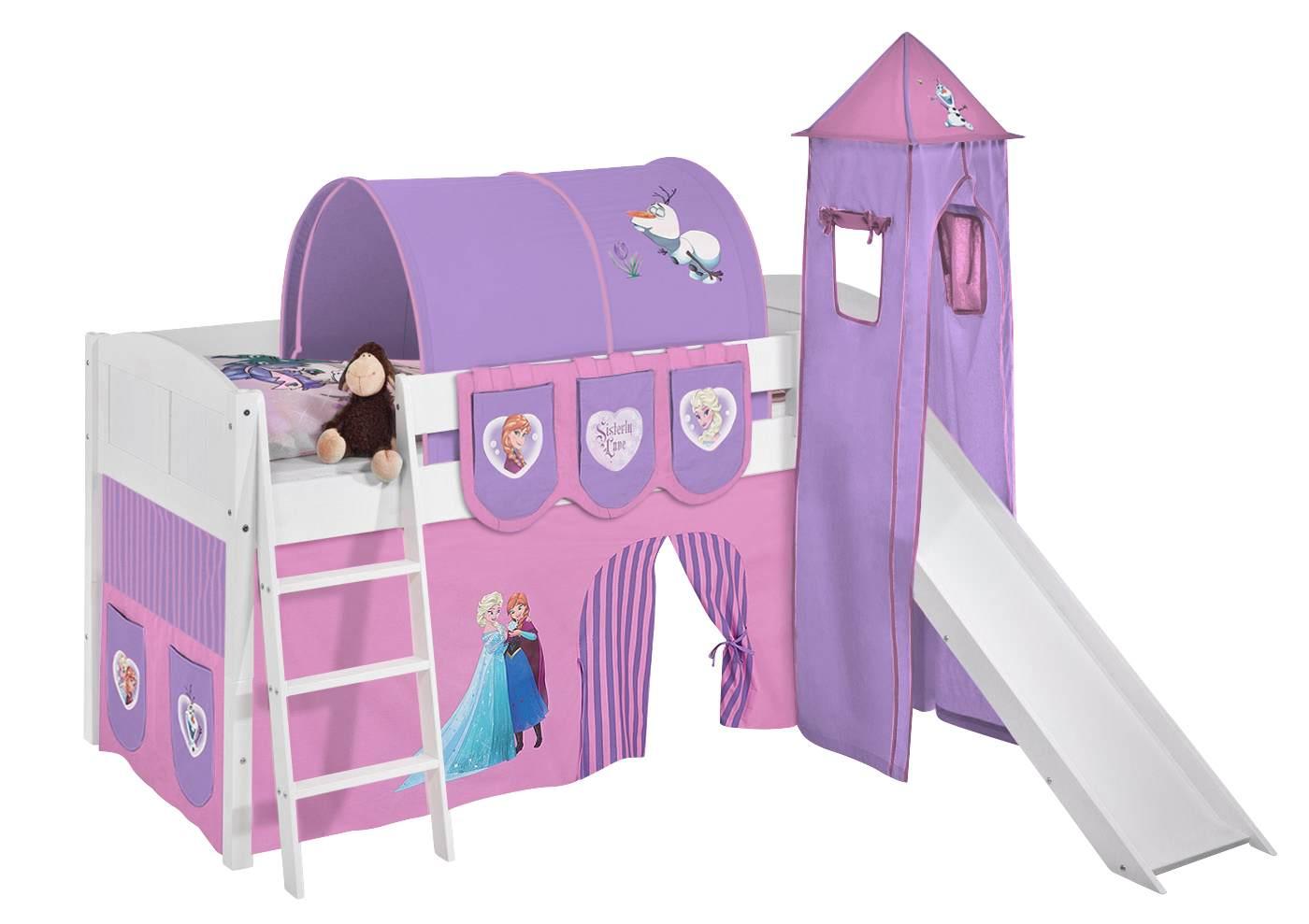 Spielbett 'Landi' weiß inkl. Turm und Vorhang 'Frozen' Bild 1