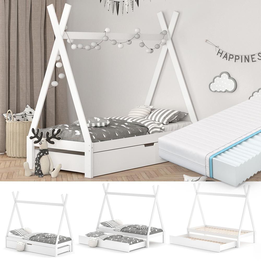 VitaliSpa Tipibett, Weiß, 90 x 200 cm, höhenverstellbar, inkl. Lattenrost, Matratze und Gästebett, Buche massiv Bild 1