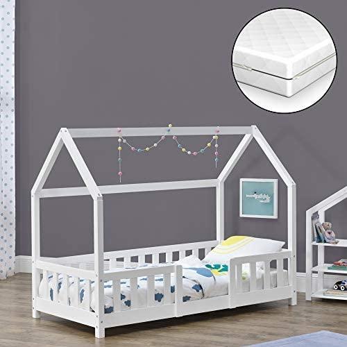 [en.casa] 'Sisimiut'' Hausbett, weiß, 80x160 cm, inkl. Matratze, Lattenrost und Rausfallschutz Bild 1