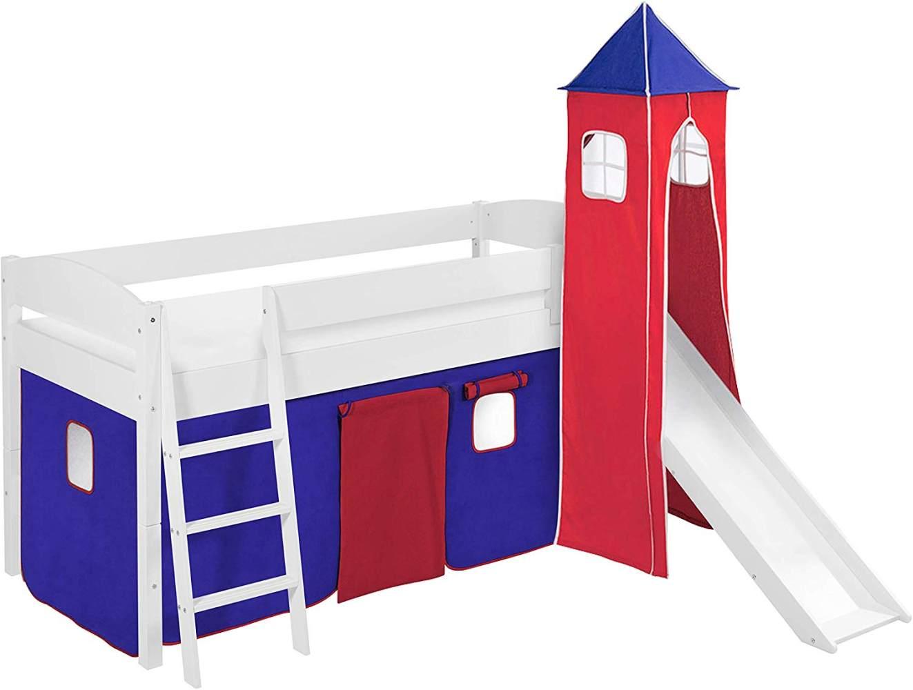 Lilokids 'Ida 4105' Spielbett 90 x 200 cm, Blau Rot, Kiefer massiv, mit Turm, Rutsche und Vorhang Bild 1