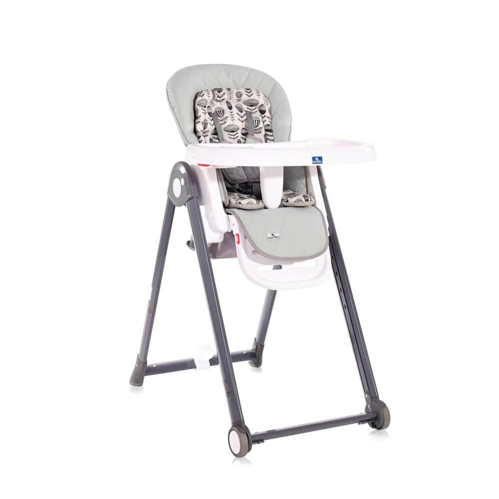 Lorelli Kinderhochstuhl PARTY Rollen Höhe Lehne Fußstütze Tisch sind einstellbar hellgrau Bild 1