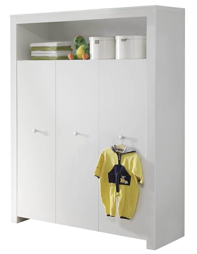 Trendteam 'Olivia' 3-trg. Kleiderschrank, weiß, mit 2 Kleiderstangen und 6 Ablagefächern Bild 1
