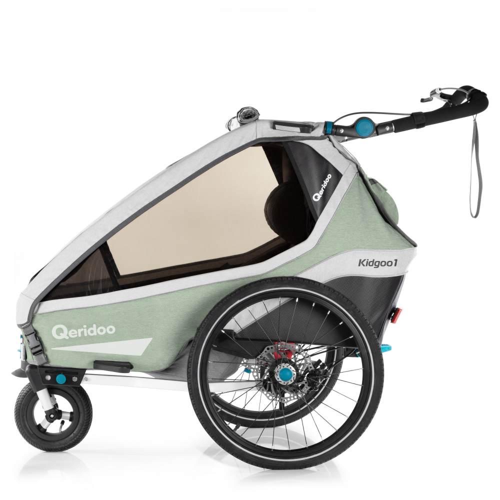 Qeridoo 'Kidgoo1 Pro' Fahrradanhänger 2020, Mint, 1-Sitzer, inkl. XXL Kofferraum, Verdeck, 360°Grad-Belüftungssystem Bild 1