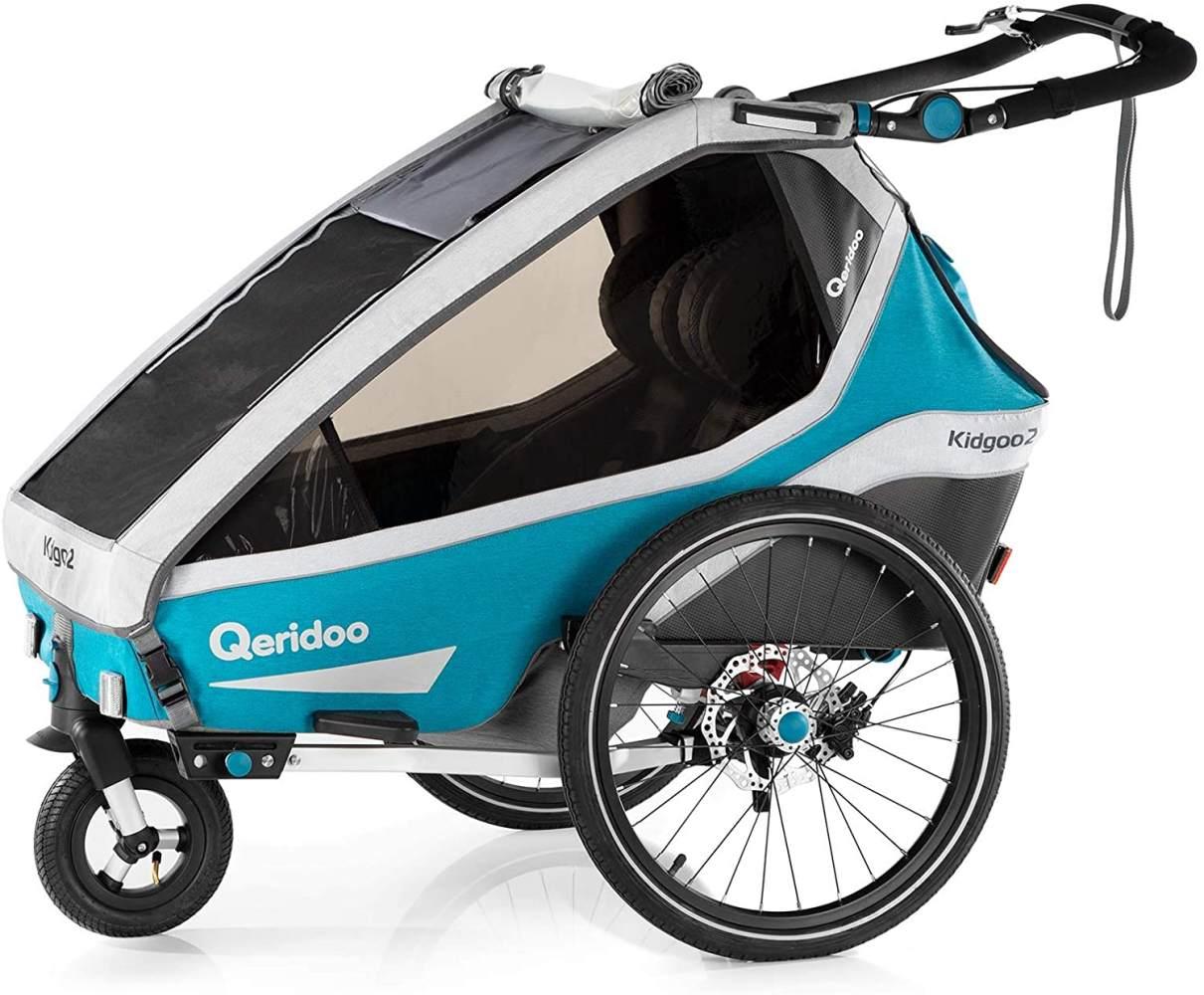 Qeridoo 'Kidgoo2 Sport' Fahrradanhänger 2020, Petrol, 2-Sitzer, inkl. luftgefülltes Buggyrad Bild 1