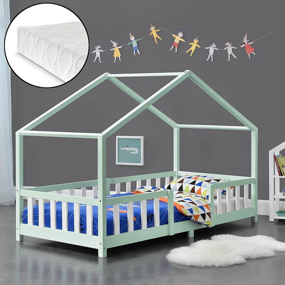 en.casa 'Treviolo' Hausbett 90x200 cm, mint/weiß, Kiefernholz, mit Matratze, Lattenrost und Rausfallschutz Bild 1