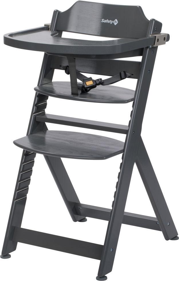Safety 1st 'Timba' Treppenhochstuhl, dunkelgrau, 4-fach höhenverstellbar, mit Sicherheitsbügel, Gurt und Essbrett, Buche massiv Bild 1