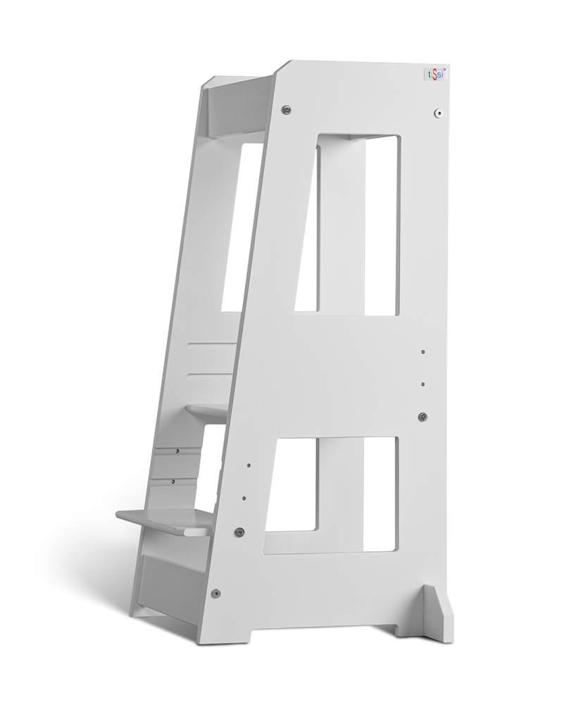 tiSsi 'Felix' Lernturm, Tritt 3-fach höhenverstellbar, Buche weiß, Massivholz Bild 1