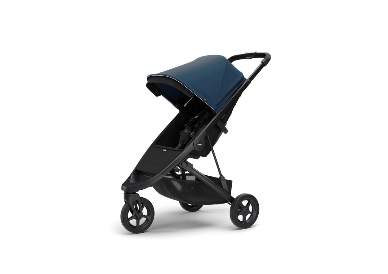 Thule 'Spring' Buggy 2020 schwarz inkl. Sonnendach Majolica Blue und Regenverdeck Bild 1