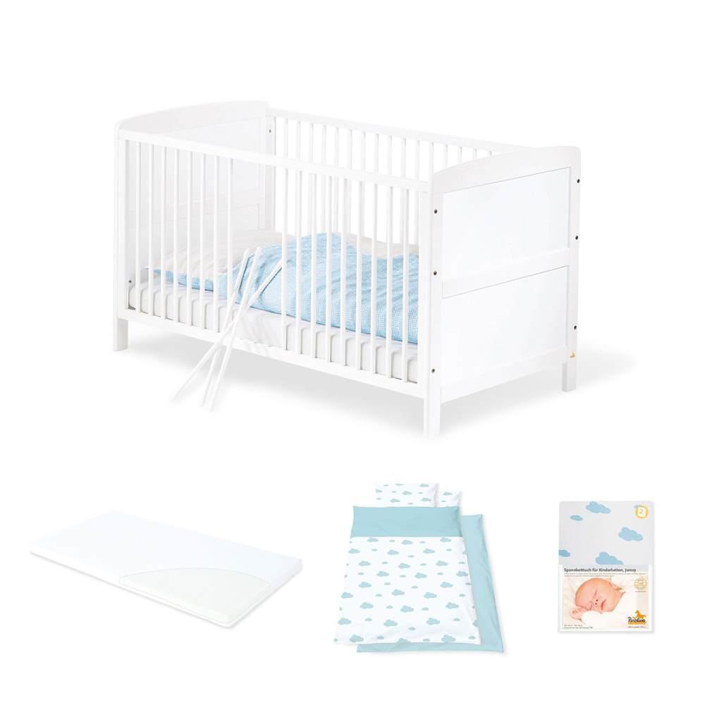Pinolino 'Viktoria' Kinderkomplettbett inkl. Matratze und Textilien 'Wölkchen blau' Bild 1