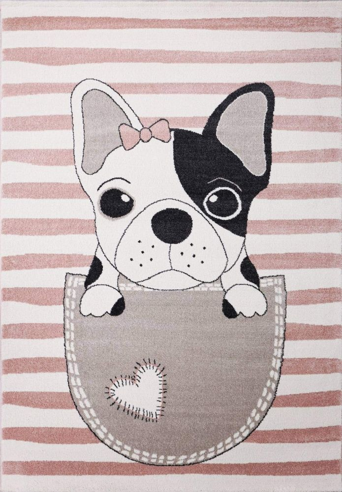 VIMODA 'Hunde Welpe' Kinderteppich 80 x 150 cm pink Bild 1