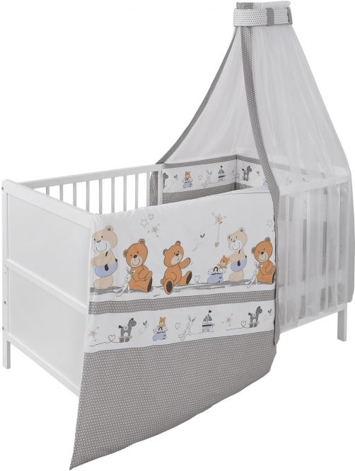 Jedynak 'Bärenfamilie' Babybett 70x140 cm, weiß, inkl. Matratze, Bettwäsche, Nestchen und Himmel Bild 1