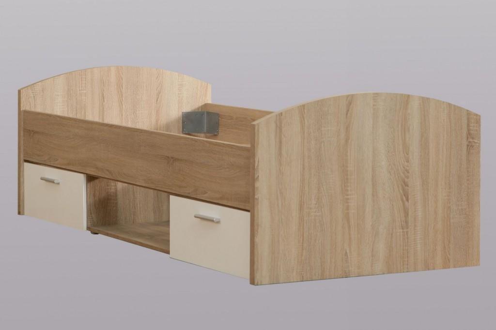 FORTE 'Winnie' Jugendbett sonoma eiche/weiß, 90x200 cm, inkl. 2 Schubladen Bild 1