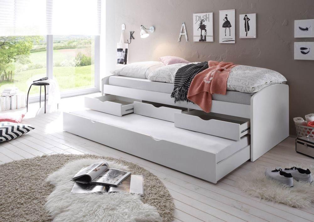 Bega 'Clara' Funktionsbett 90 x 200 cm, weiß, inkl. ausziehbarer Gästeliege, 3 Schubladen, Lattenrost, Matratze (pink) Bild 1