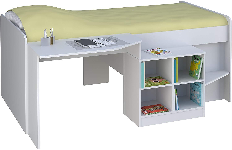 Polini Kids Kinderbett 'Simple 4000' mit Schreibtisch und Regal Weiß Bild 1
