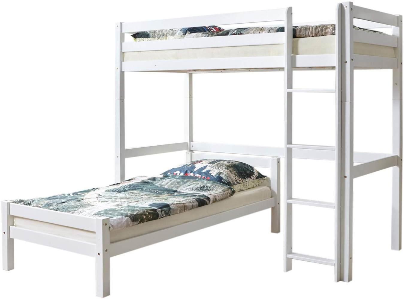 Ticaa 'Tolly' Etagenbett L-Bett Buche Weiß 90x200 Bild 1