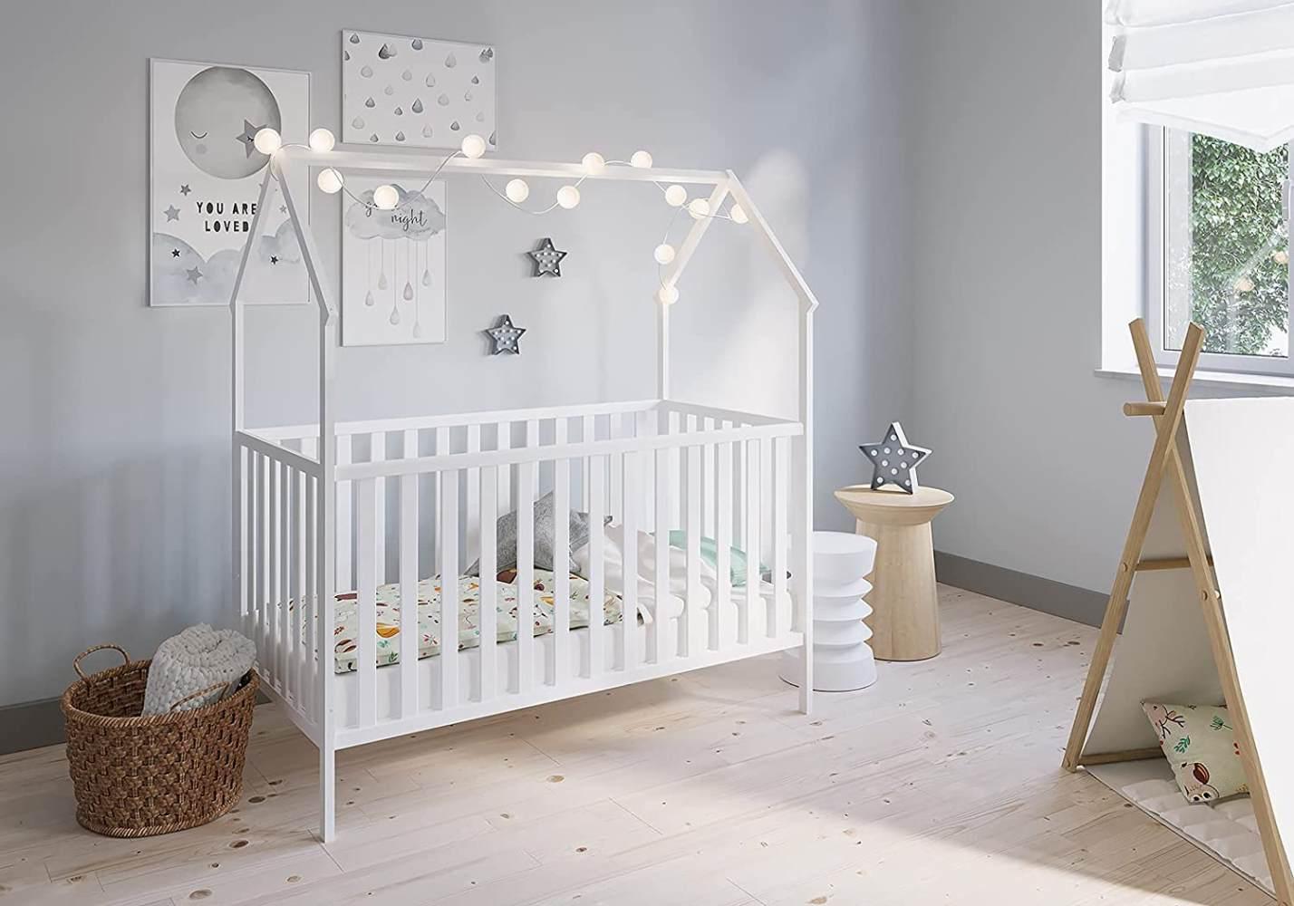 FabiMax 'Schlafmütze' Kinderbett, 70 x 140 cm, weiß, mit Matratze Comfort, Kiefer massiv, 3-fach höhenverstellbar, umbaubar Bild 1