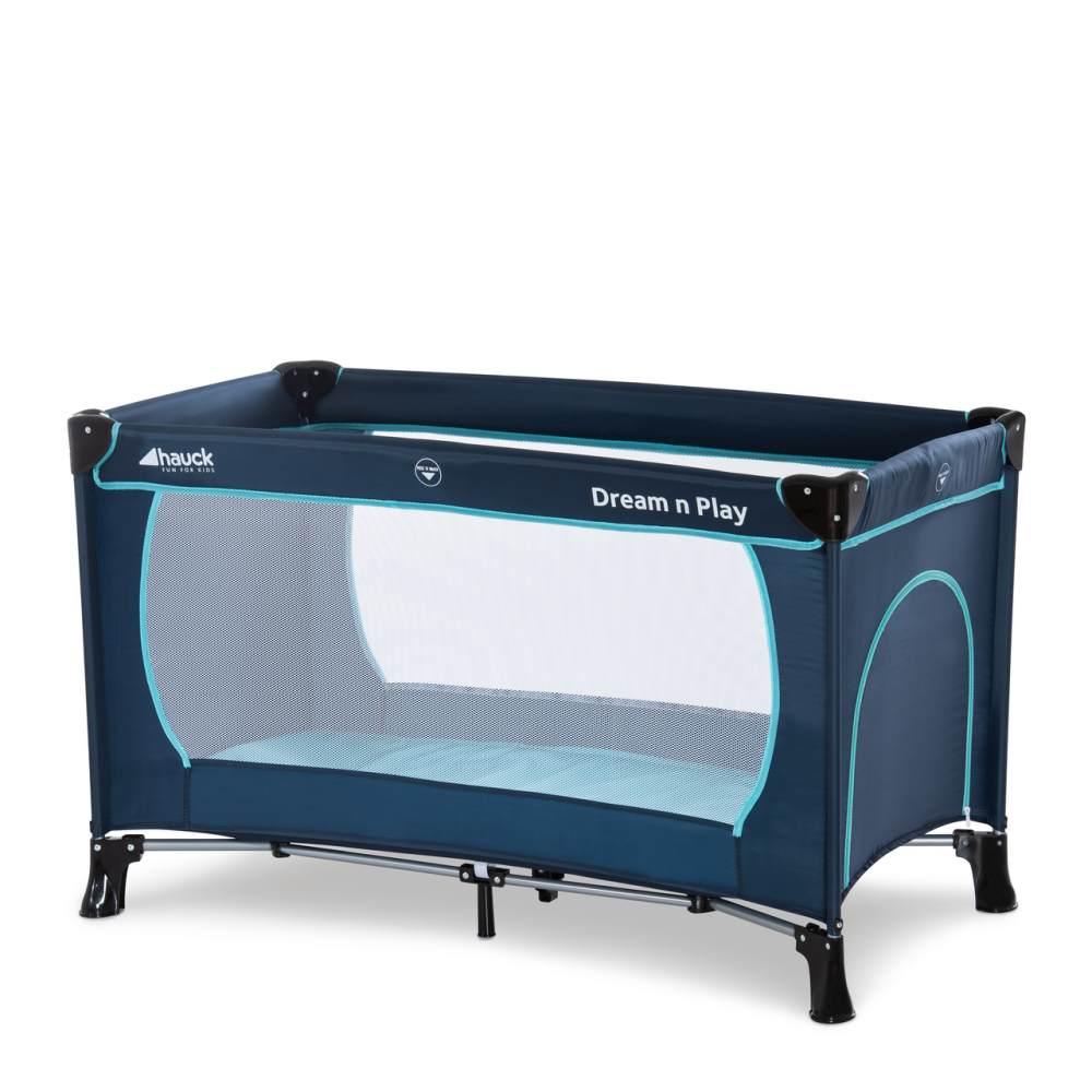 Hauck 'Dream'n Play Plus' Reisebett 3-teilig 120 x 60 cm, ab Geburt bis 15 kg, inkl. Tragetasche, Einlageboden und Schlupf (faltbar, tragbar, leicht & kippsicher), navy/aqua Bild 1