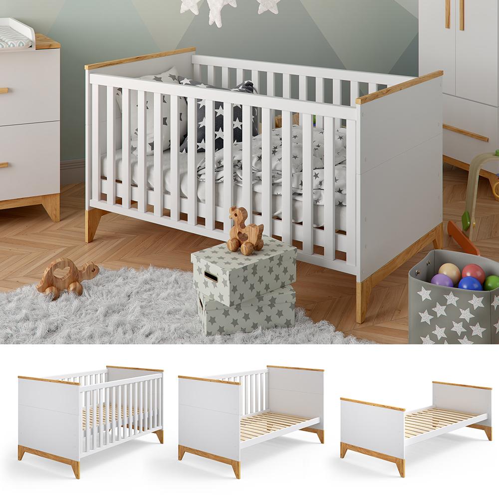VitaliSpa 'Malia' Gitterbett 70x140 cm weiß, inkl. Matratze, mit 3 herausnehmbaren Schlupfsprossen Bild 1