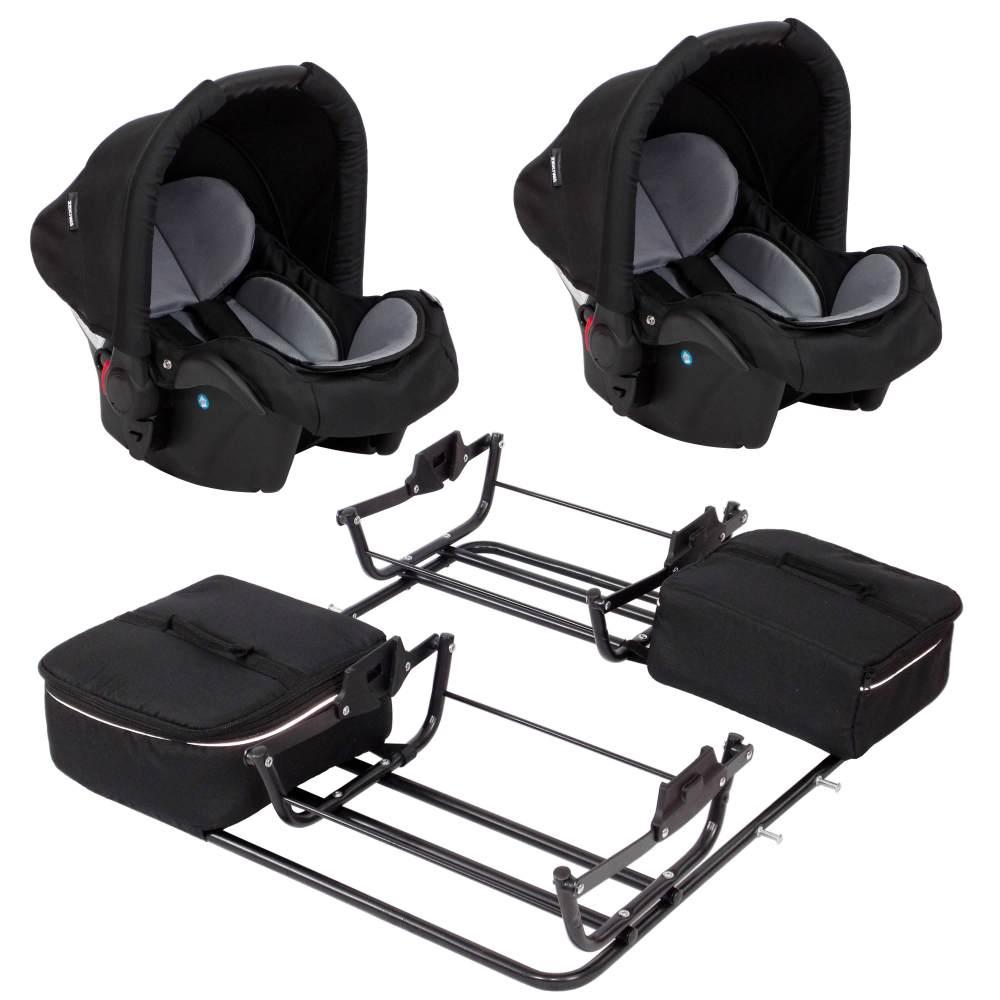 2 Babyschalen mit Adapter für Sport Duo Grau Bild 1
