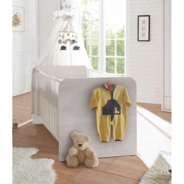 LUCA Sicheres Babybett mit 70 x 140 cm Liegefläche - Schönes Baby Gitterbett für einen geborgenen Schlaf in Pinie Weiß / Trüffel - 82 x 80 x 144 cm (B/H/T) Bild 1