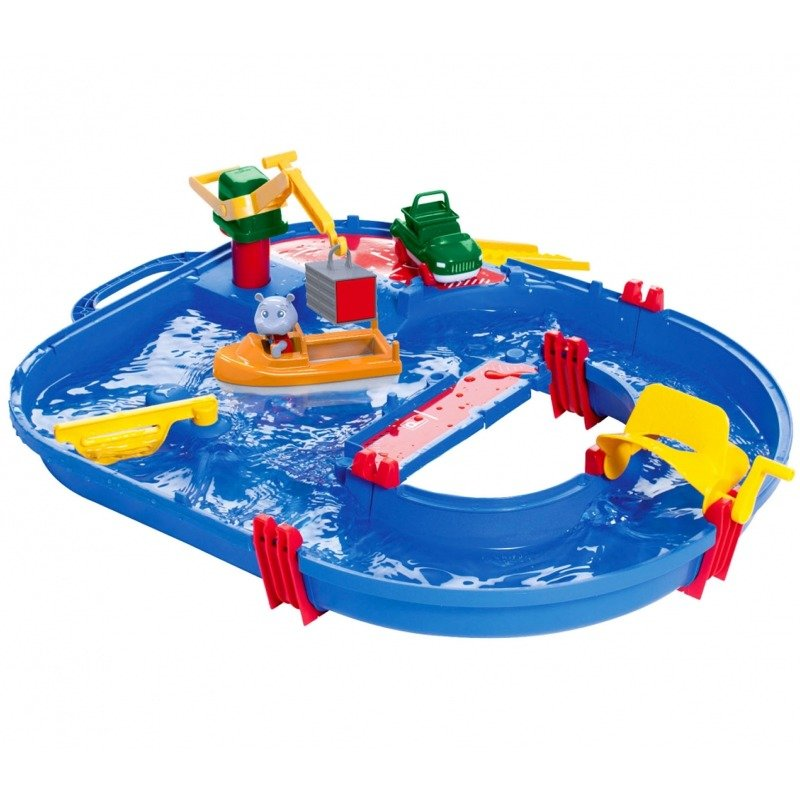 AquaPlay 'Start Set' Wasserbahn, 68 x 65 x 22 cm, inkl. Kran, Wasserfahrzeug mit Container, Containerboot, 1 Spielfigur Bild 1