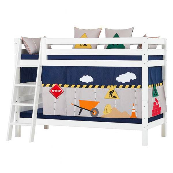 Hoppekids 'Premium' Etagenbett weiß, mit schräger Leiter, 90 x 200 cm, inkl. Rollroste Bild 1