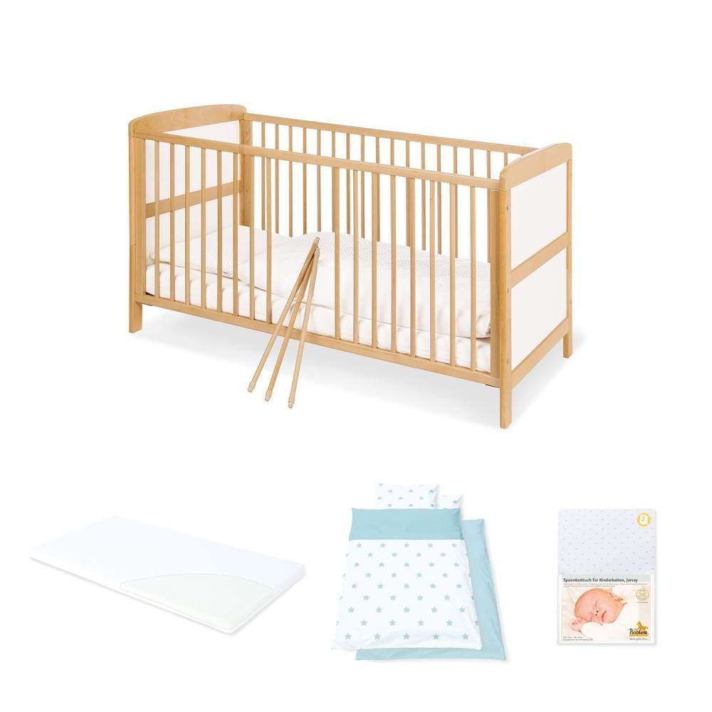 Pinolino 'Florian' Kinderkomplettbett inkl. Matratze und Textilien 'Sternchen blau' Bild 1