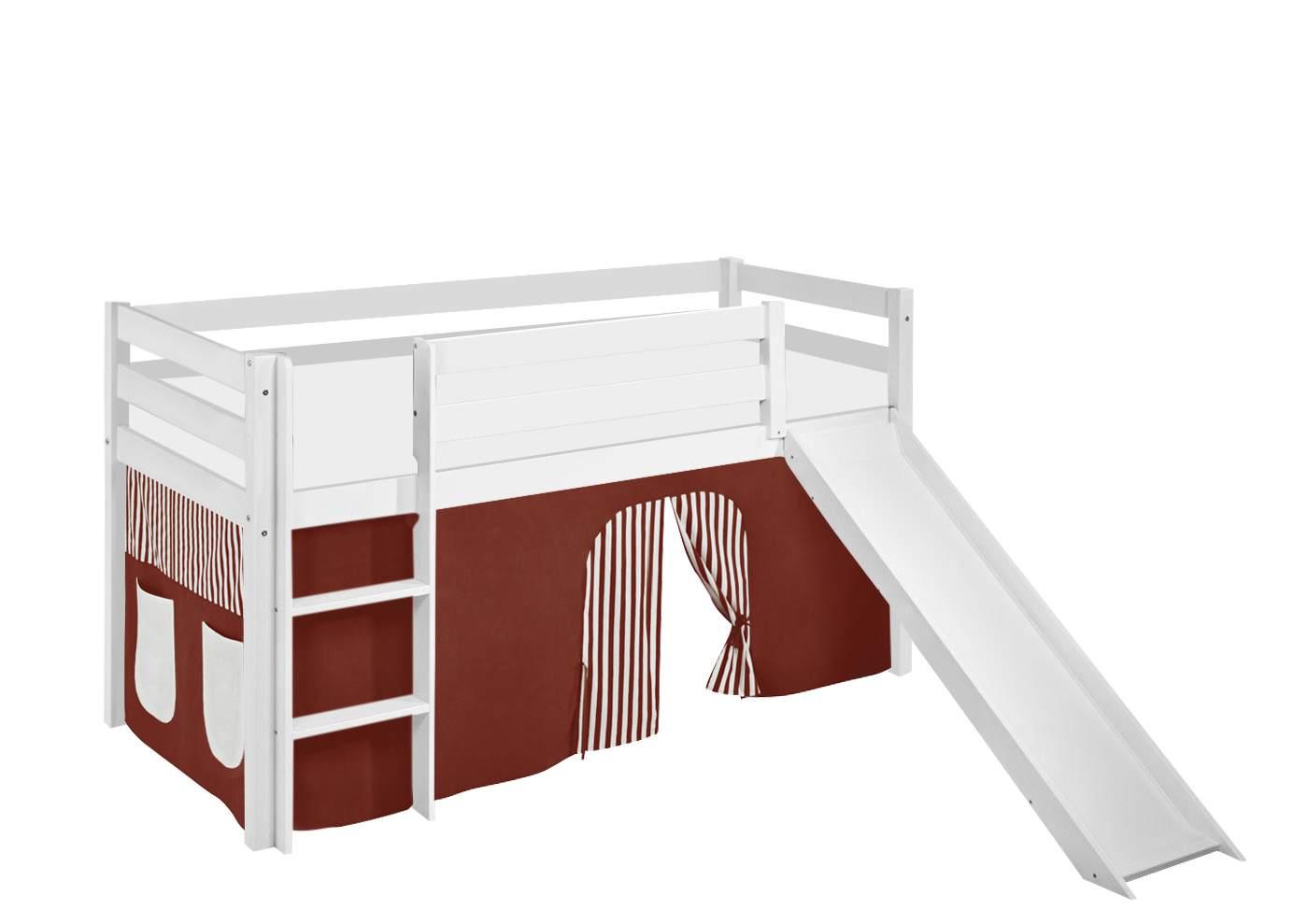 Lilokids 'Jelle' Spielbett 90 x 190 cm, Braun Beige, Kiefer massiv, mit Rutsche und Vorhang Bild 1