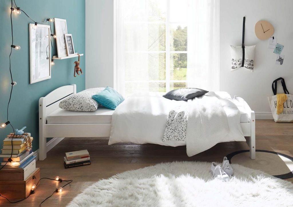Kinderbett 'IVI' Einzelbett 90x200cm, Weiß Kiefer massiv Bild 1