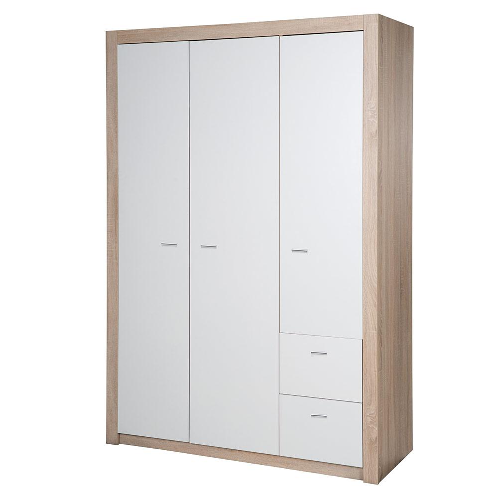 roba Kleiderschrank 'Leni 2', Schrank Babyzimmer, 3 Türen, 2 Schubladen, 2 Kleiderstangen, Kinderzimmer, Eiche sägerau/weiß Bild 1