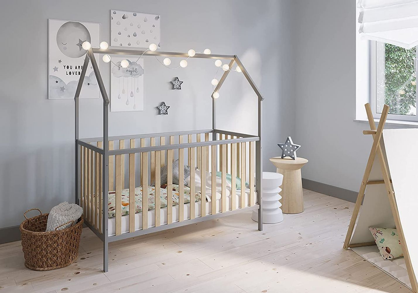 FabiMax 'Schlafmütze' Kinderbett, 70 x 140 cm, grau/natur, Kiefer massiv, 3-fach höhenverstellbar, umbaubar Bild 1