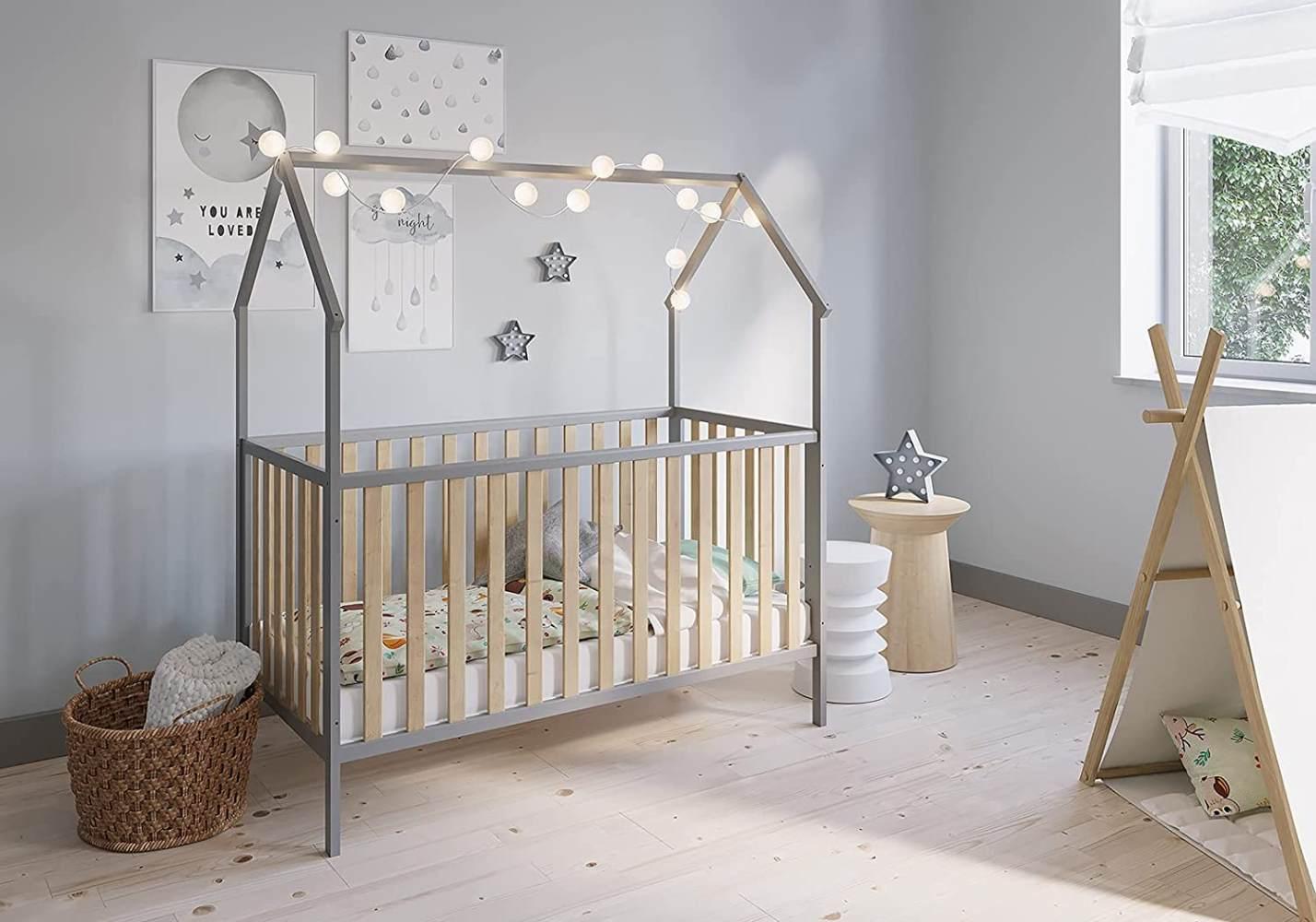 FabiMax 'Schlafmütze' Kinderbett, 70 x 140 cm, grau/natur, mit Matratze Classic, Kiefer massiv, 3-fach höhenverstellbar, umbaubar Bild 1